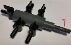 9 mm luchtverdeler 7 uitgangen met kraan
