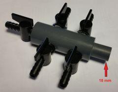 Luchtverdeler 9 mm 5 uitgangen met kraan