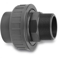 """3-delige koppeling pvc lijm 63/50 mm x 1 1/2"""" buitendraad"""