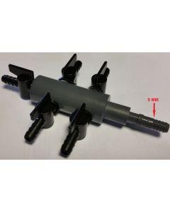 9 mm luchtverdeler 5 uitgangen met kraan