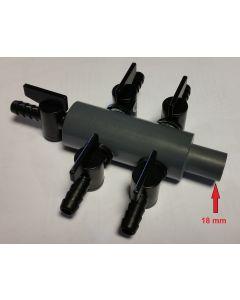 Luchtverdeler 9 mm 7 uitgangen met kraan