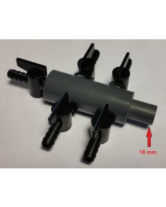 Luchtverdeler 9 mm 11 uitgangen met kraan